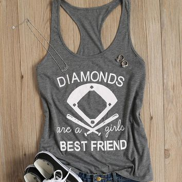 Diamonds Are A Girls Best Friend Printed Female Tank Tops Summer Casual Leisure Loose Girls Chic Tee T-shirt Women Vest Harajuku