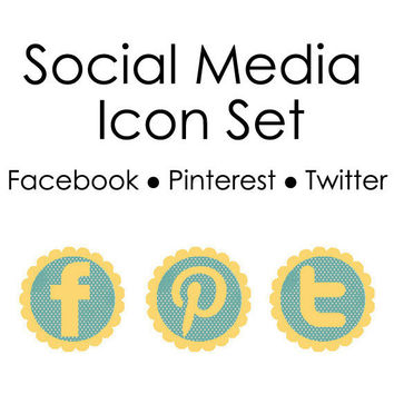 Social Media Icons--Facebook, Pinterest & Twitter--Blue and Yellow