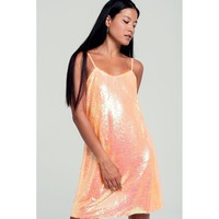 Sequin cami mini dress in orange