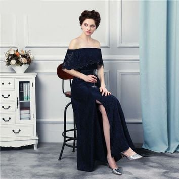 Watch! New Design Off Shoulder Strapless Lace Evening Dresses Long Floor Length Navy Blue Evening Gown