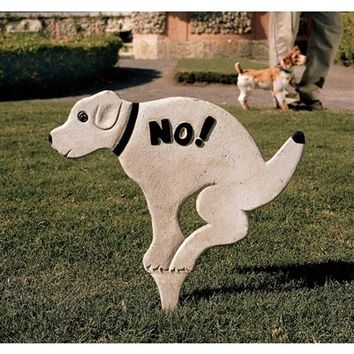 SheilaShrubs.com: No Pausing Pooch Lawn Sign - Medium SP2051 by Design Toscano: Signs & Plaques