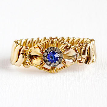 Vintage Expansion Bracelet - Retro 12k Rosy Yellow Gold Filled Stretch Adjustable Statement - 1940s Blue White Glass Rhinestones Jewelry