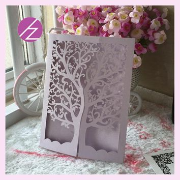 12pcs/lot wedding party decoration paper craft laser cut love tree wedding invitation card QJ-26