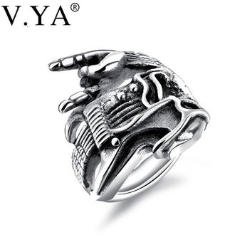 V.YA Fashion Rock Man Rings Hip Hop Skull Guitar Victory Gesture Instrument Jewelry Gift Sliver Gold Color Stainless Steel Rings