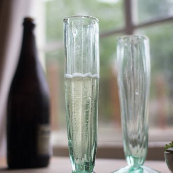 Set Of 6 Recycled Glass Champagne Flutes - Fluted Cone