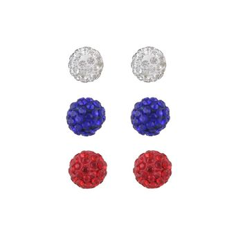 Rhinestone Colorful Ball Earrings Set