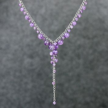 Purple amethyst chunky long lariat necklace Bridesmaids gifts Free US Shipping handmade Anni Designs