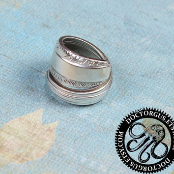 Sterling Silver Plated Spoon Ring - Recycled Antique Silverware Jewelry Creations by Doctorgus - Great Eco Earth Friendly Gift