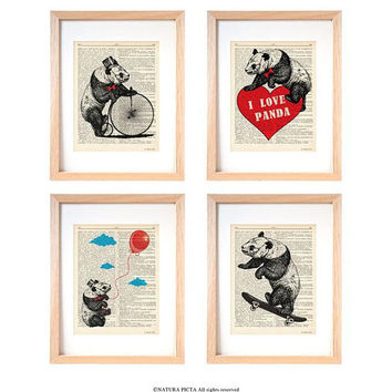 Panda bears set of 4 prints-funny panda bears wall art-panda bears dictionary print-panda bears wall art-funny animal print-dorm decor-DP246
