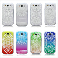 Colorful Printed Transparent Floral Flower Clear Soft Elephant Tree TPU Case Cover For Samsung Galaxy S 3 III S3 i9300 9300
