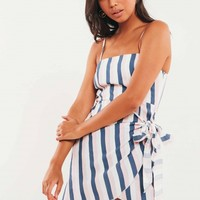 Viola Dress - Navy-Pink Stripe
