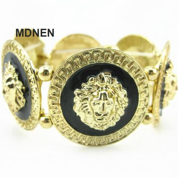 Exaggerated Alloy Lion Head Bracelets, Men's Bangles, Jewelry, YJ21-3023, 1PCS