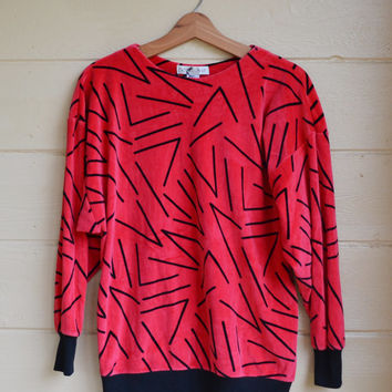 Vintage 80s Velour Pullover Shirt Long Sleeved Radical Red Abstract Print Shirt Small Oversized Urban Streetware Hip Hop Shirt