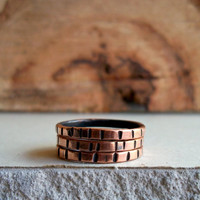 Notched Stacking Rings - Salvaged Copper - Set of 3 - Modern Rustic - Summer Fashion - Eco