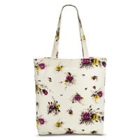 Women's Floral Print Canvas Tote Handbag - Ivory