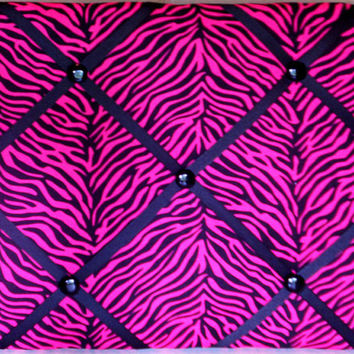 Hot Pink and Black Zebra II - 16 x 20 French Memo - Memory Board - Bulletin Board - FREE Shipping