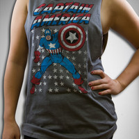 Captain America Stars Junior Fitted Muscle Tank