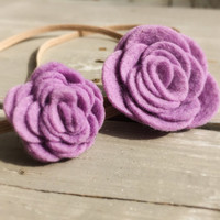 Mommy and Me felt flower headband set, Big Sister/ Little Sister Felt Headbands, baby headband set, Lavender purple felt flower headband