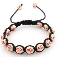 12 Pieces of White with Red Cross Beaded Adjustable Bracelet Macrame Shamballah