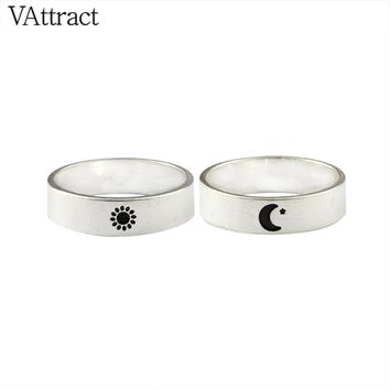 V Attract Couple Rings For Lovers Stainless Steel Gold Color Wedding Jewelry Fashion Sun and Moon Rings For Women 2017