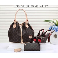 LV Louis Vuitton Popular Women Fashion Leather Tote Satchel Shoulder Bag Handbag Shoes Wallet Three Piece Suit I-KSPJ-BBDL
