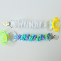 Binky Clip Newborn Pacifier Holder Baby Paci Suspender Infant Teething Ring Holder Multi Color White Blue Green Spiral