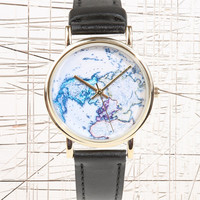 Black Globe Leather Watch - Urban Outfitters