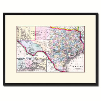 Texas Vintage Antique Map Wall Art Home Decor Gift Ideas Canvas Print Custom Picture Frame
