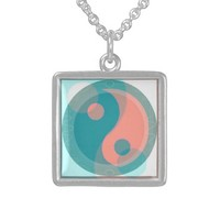 Coral and Teal Yin Yang Pendant Necklace