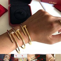 Cartier New Fashion Personality Women Men More Style Simple Rose Gold Bracelet Screw Bracelet Lovers Bracelet
