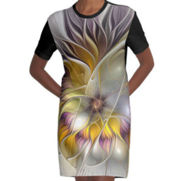 'Abstract Fantasy Flower Fractal Art' T-Shirt Kleid by gabiwArt