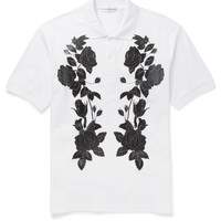 Alexander McQueen - Slim-Fit Flower-Print Cotton-Piqué Polo Shirt