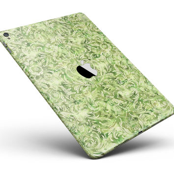 """Green Damask v2 Watercolor Pattern V2 Full Body Skin for the iPad Pro (12.9"""" or 9.7"""" available)"""