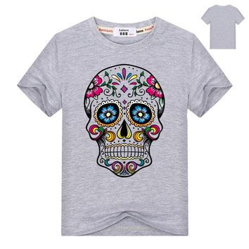 Mexican Flower Sweet Skull Cat Print Kids T Shirt Casual Summer Cotton Top Tee for Boys Girls Hipster Clothing