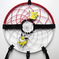 Pokemon Pokeball Dream Catcher featuring Pikachu and Jolteon