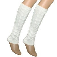 Dahlia Women's Cable Knit Leg Warmers - White