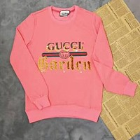 GUCCI Trending Women Men Stylish Print Round Collar Sweater Pullover Top Sweatshirt Pink