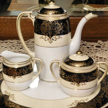Noritake Tea Set Art Deco 1920s 1930s Teapot Sugar Creamer Tray Morimura Bros Handpainted Japan Gold Decoration on Black Vintage Porcelain