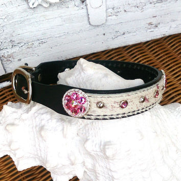 Pink Bling Collar,  Leather Collar, Hair On Hide, Leather Dog Collar, Concho Dog Collar, Swarovski Crystal, Pet Collar, 18 Inch Collar