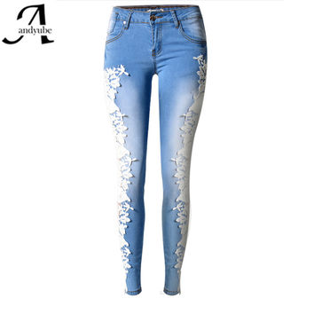 2016 Fashion Lace Women Jeans Plus Size Sexy Hollow Out Flower Hook Tight Feet Pencil Pant Skinny Plus Size Woman Jeans 40