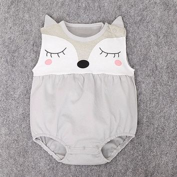 Sleeping Fox Cartoon Romper