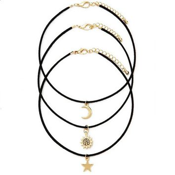Day-First™ 3 Pcs Sets Star Moon Sun Chokers Necklaces Pendants necklace