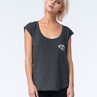 Billabong Lost Womens Roll Cuff Tee Off Black  In Sizes