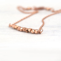 Tiny Nuggets Rose Gold Bracelet / Petite Pink Gold Jewelry by Burnish