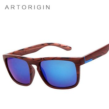 Vintage Texture Wood Sunglasses Men Women Brand Designer Square Mirror Sun Glasses Female Oculos De Sol lunette