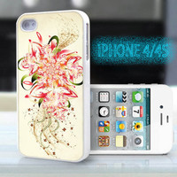 unique iphone case,glitter i phone 4 4s case,cool cute iphone4 iphone4s case,stylish  plastic rubber cases, yellow red floral  , ZB17