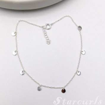 925 Sterling Silver Mini Disc Dangling Anklet (A- 1801)