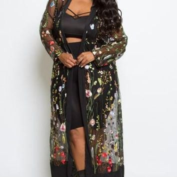 Spring All Mesh Embroidery Floral Maxi Cardigan