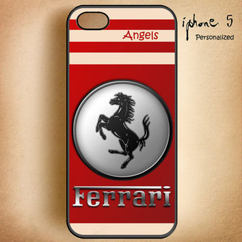 RED Ferrari Enzo Logo -Design On Hard Plastic Cover Case, IPhone 4,4S or IPhone 5 Case, Samsung Galaxy S2,S3 or S4 Case