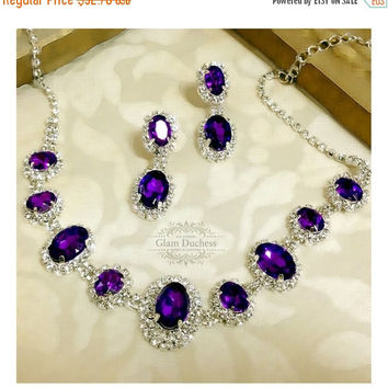 Wedding jewelry set ,bridesmaid jewelry set, Bridal necklace earrings, vintage inspired rhinestone bridal statement, Purple crystal jewelry